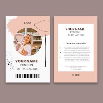 Szablon karty tożsamości kawy