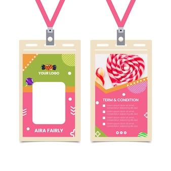 Szablon karty tożsamości sklepu ze słodyczami