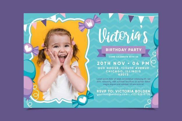 Szablon karty urodzinowej dla dzieci ze zdjęciem
