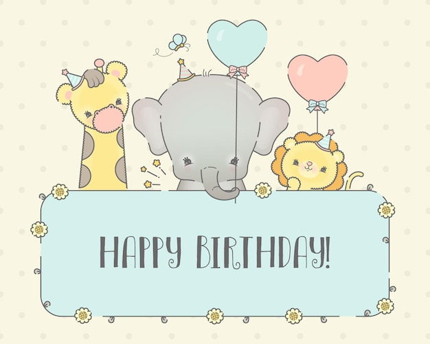 Szablon karty urodzinowej dla dzieci zwierząt premium wektor
