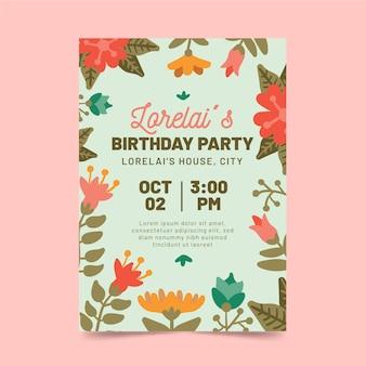 Szablon karty urodzinowej w stylu kwiatowy