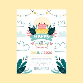 Szablon karty urodzinowej / zaproszenia dla dzieci z ciastem