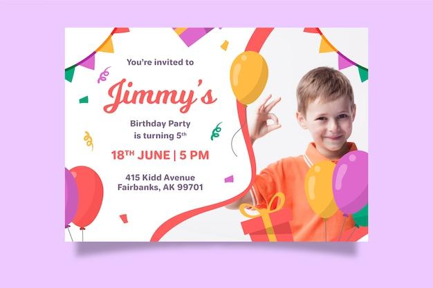 Szablon karty urodzinowej ze zdjęciem