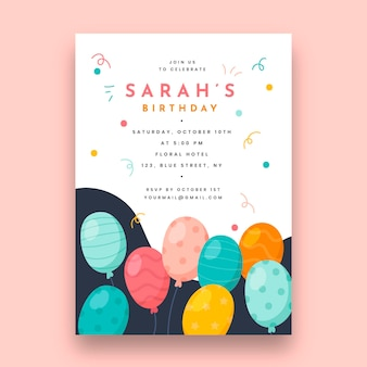 Szablon karty urodziny z balonów