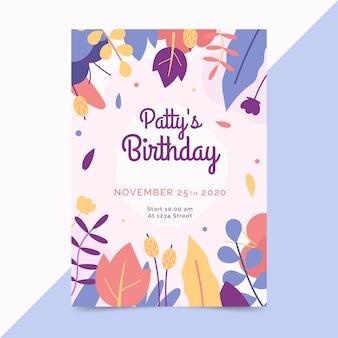 Szablon karty urodziny z kwiatami
