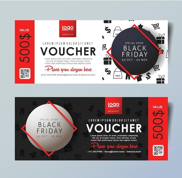 Szablon karty voucher na czarny piątek