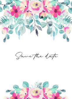 Szablon karty z akwarela różowe kwiaty, polne kwiaty, zielone liście, gałęzie i eukaliptus