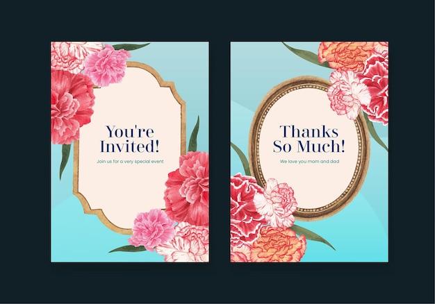 Szablon karty z koncepcją kwiat goździka, styl przypominający akwarele