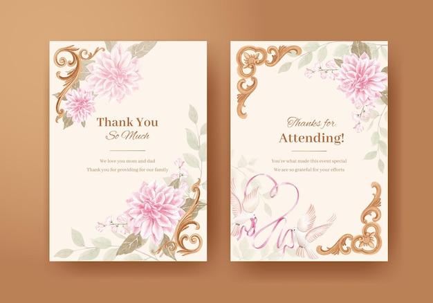 Szablon karty z koncepcją kwiatów cottagecore, styl akwareli