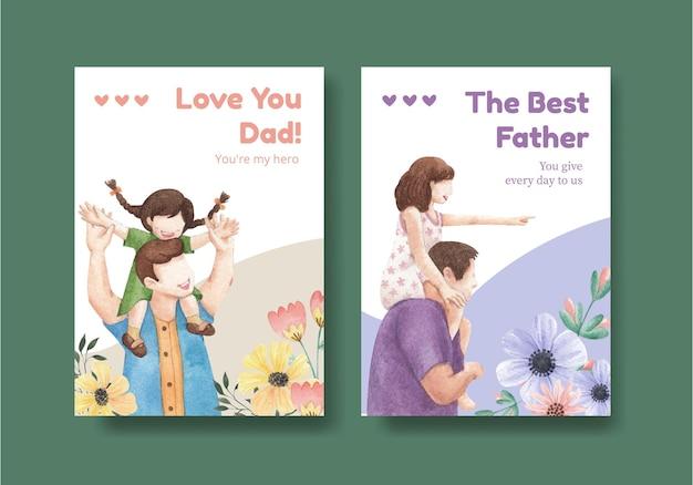 Szablon karty z koncepcją na dzień ojca, styl przypominający akwarele