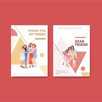 Szablon karty z koncepcją narodowego dnia przyjaźni, styl akwareli