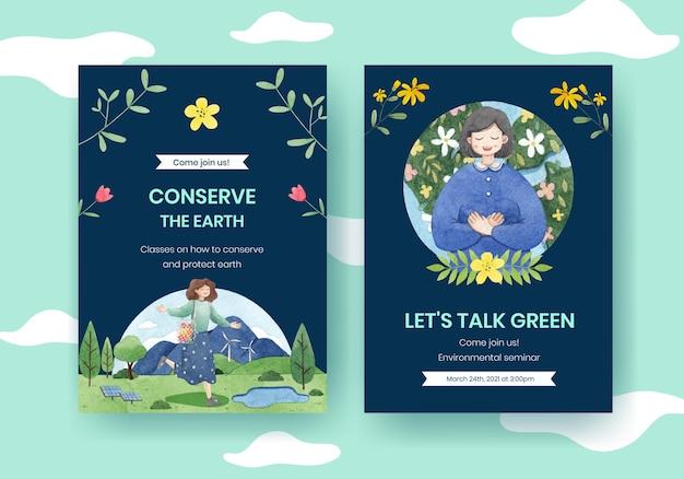 Szablon karty z koncepcją światowego dnia środowiska, styl przypominający akwarele