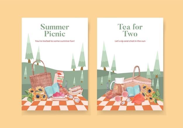 Szablon karty z letnią koncepcją cottagecore, styl przypominający akwarele