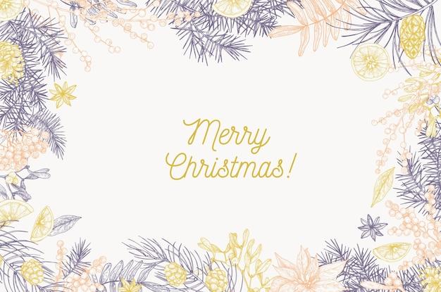 Szablon karty z napisem wesołych świąt i ramką z gałęzi drzew iglastych