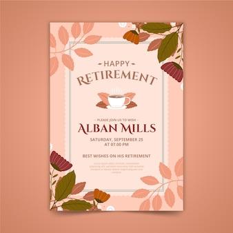 Szablon karty z pozdrowieniami emerytalnymi z liśćmi