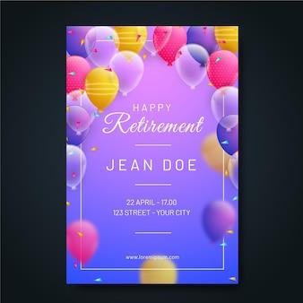 Szablon karty z pozdrowieniami emerytury w kolorze gradientu