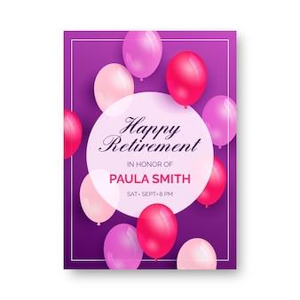 Szablon karty z pozdrowieniami kreatywnych emerytury