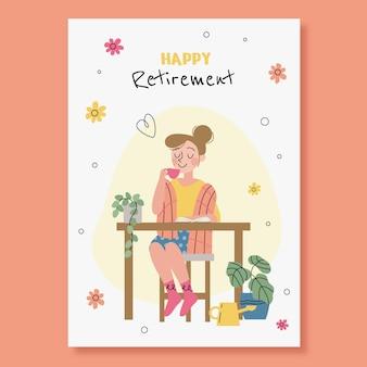 Szablon karty z pozdrowieniami płaskie emerytury