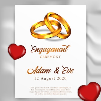 Szablon karty z pozdrowieniami ślub zaręczynowy pierścień