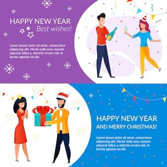 Szablon karty z pozdrowieniami szczęśliwego nowego roku