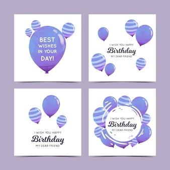 Szablon karty z pozdrowieniami urodzinowymi