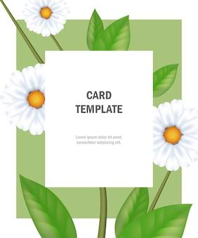 Szablon karty z pozdrowieniami z chamomiles na zielonej ramie. impreza, wydarzenie, uroczystość.