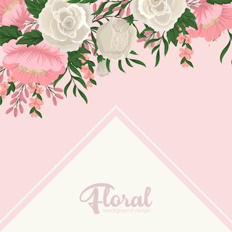 Szablon karty z pozdrowieniami z kwiatów tła