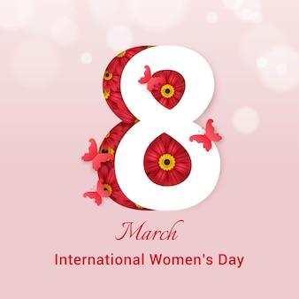 Szablon karty z pozdrowieniami z okazji międzynarodowego dnia kobiet