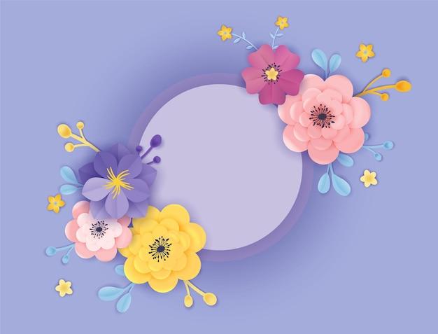 Szablon karty z pozdrowieniami z papieru cięte kwiaty. kwiatowy tło ramki stylu origami. botaniczny projekt wiosna lato baner, plakat. ilustracja wektorowa