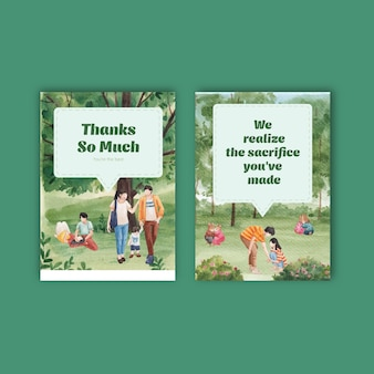 Szablon karty z raju miłość koncepcja projekt akwarela ilustracja