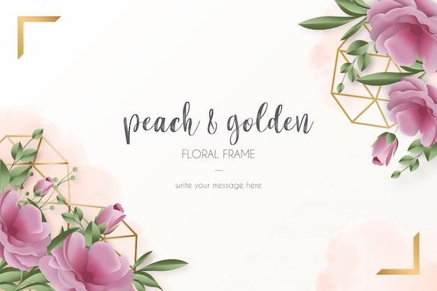 Szablon karty z realistycznymi kwiatami