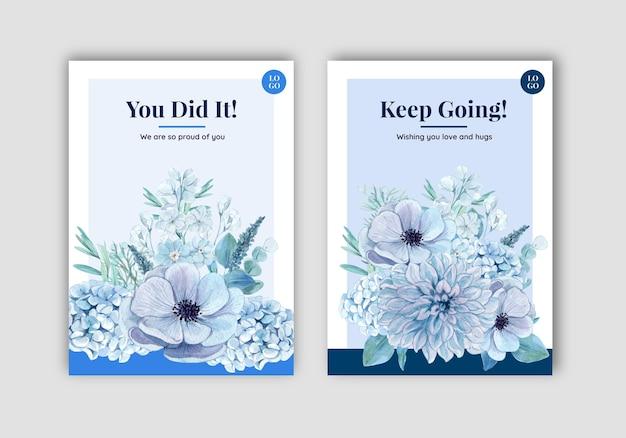 Szablon karty z spokojną koncepcją niebieskiego kwiatu, w stylu akwareli