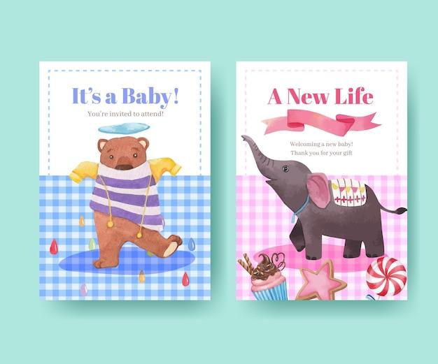 Szablon karty z szczęśliwych zwierząt koncepcja akwarela ilustracja