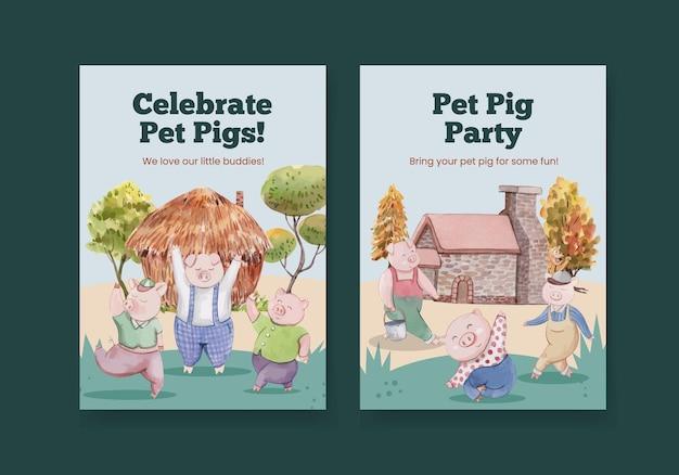 Szablon karty z uroczymi trzema małymi świniami, styl akwareli
