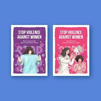 Szablon karty z zatrzymaniem przemocy wobec kobiet w stylu akwareli