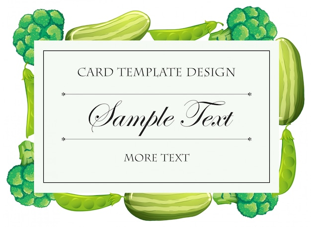Szablon karty z zielonymi warzywami