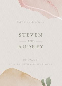 Szablon karty zaproszenia na ślub w kolorze beżowym