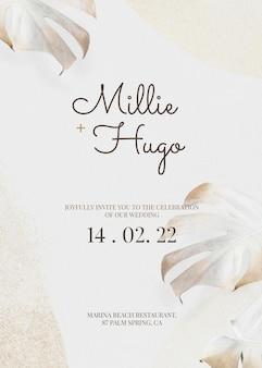 Szablon karty zaproszenia na ślub z liśćmi