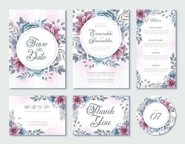 Szablon karty zaproszenia ślubne akwarela kwiatowy