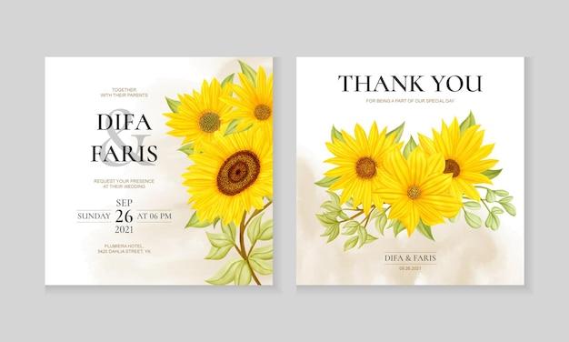 Szablon karty zaproszenia ślubne akwarela słonecznika