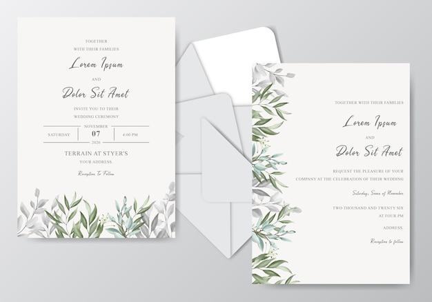 Szablon karty zaproszenia ślubne akwarela z pięknym liście
