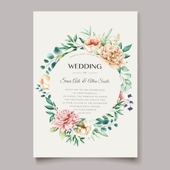 Szablon karty zaproszenia ślubne elegancka piwonia
