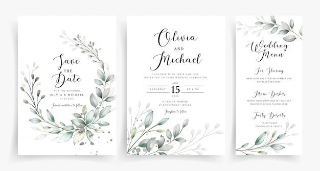 Szablon karty zaproszenia ślubne eleganckie zieleni akwarela