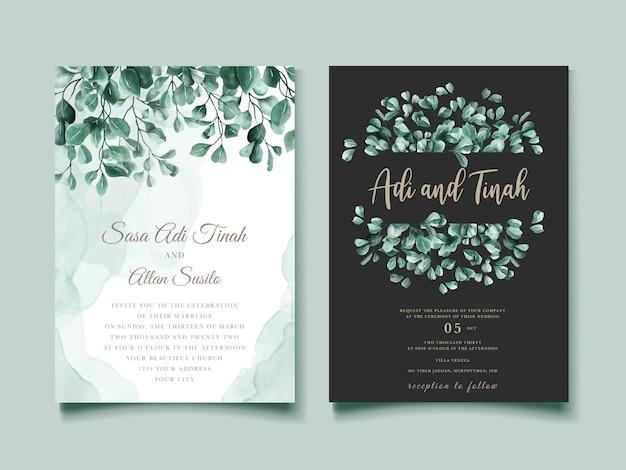 Szablon karty zaproszenia ślubne eukaliptusa akwarela