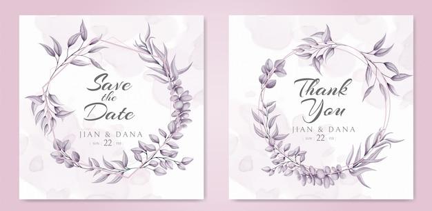 Szablon karty zaproszenia ślubne różowy wieniec kwiatowy