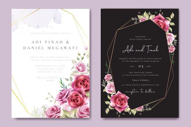 Szablon karty zaproszenia ślubne wieniec kwiatowy
