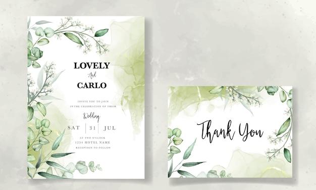 Szablon karty zaproszenia ślubne z akwarelą liści eukaliptusa