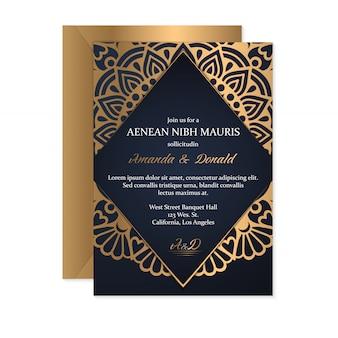 Szablon karty zaproszenia ślubne z etnicznym stylu, orientalny design