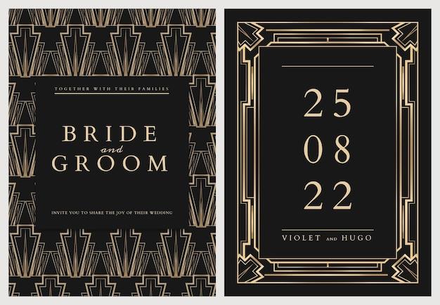 Szablon karty zaproszenia ślubne z geometrycznym stylem art deco na ciemnym tle