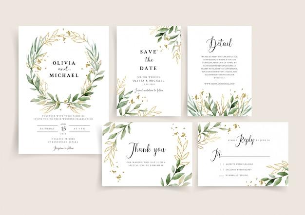 Szablon karty zaproszenia ślubne z granicy piękne liście